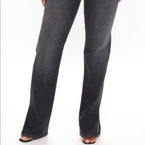 Side split straight leg jeans